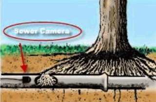 drawing of sewer camera in pipe