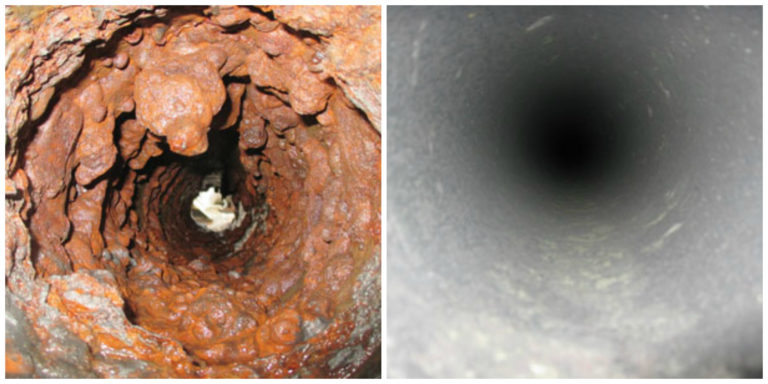 trenchless pipe cleaning before and after